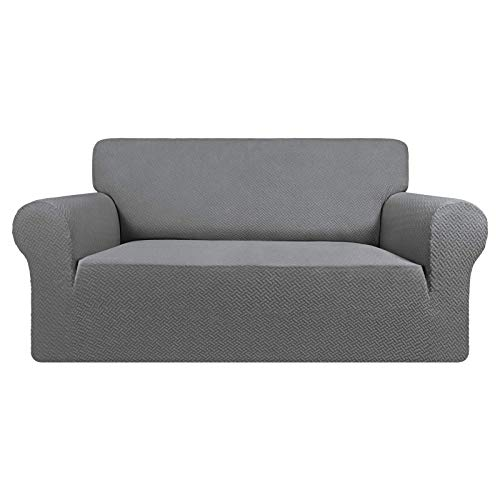 Easy-Going Stretch Jacquard Loveseat Couch Cover, 1-Piece Soft Sofa Cover, Sofa Slipcover with Anti-Slip Foams, Washable Furniture Protector for Kids, Pets (Loveseat, Light Gray)