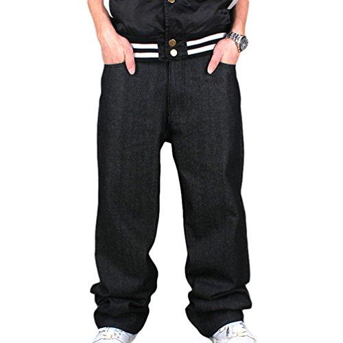 Dexinx Uomo Solido Colore Hip Hop Jeans Sera Downtown Ballo di Strada Denim Pantaloni Lunghi Ragazzi Popolari Nero 46