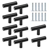 TheStriven 10 piezas Perilla de Cajón en Forma de T Cajón Perillas Tiradores en T para Armarios de Cocina Tirador en forma de T Pomos y Tiradores de Muebles para Puertas, Armarios, Cajones (Negro)