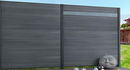 Exklusiv Sichtschutz System WPC Zaun grau mit zusätzlicher Kunststoffbeschichtung, 12er-Bohlenset mit 2 Abschlussleisten Silber (5 Zäune + 6 Alupfosten = 927 cm Zaunlänge)