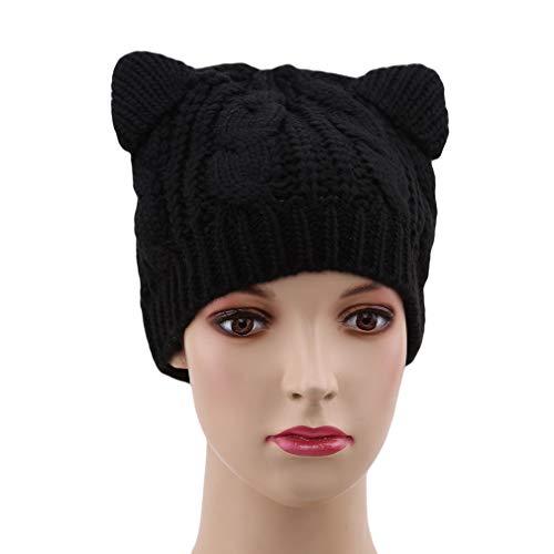 SUNSKYOO Cat Ear Hat Women Cute Strickmütze Hanf Blumen Beanie Winter Warme Mütze, schwarz