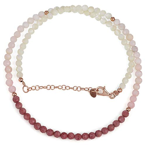 Natural Mother Pearl, Pink Opal & Rhodonite Faceted Round Bead Gemstone Necklace with Rose gold plated 925 Sterling Siver Chain for Women. Gift for Her, Christmas, Birthday, Aniversary, New Year - 50