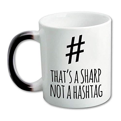That's A Sharp Not A Hashtag Ceramic Morphing Mug - 11 Ounces Heat Sensitive Color Coffee/Tea Mug