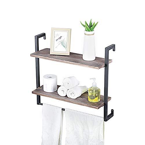 zyfun - Estantería flotante rústica de 2 niveles, para pared y almacenamiento, estantería industrial moderna para dormitorio, sala de estar, cocina, baño, marco de metal negro