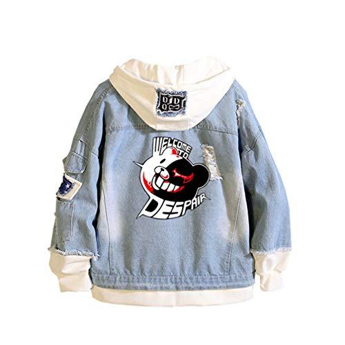 Cosstars Danganronpa Monokuma Anime Chaquetas de Mezclilla Denim Jacket Adulto Cosplay Jeans Hoodie Sudaderas Cárdigan