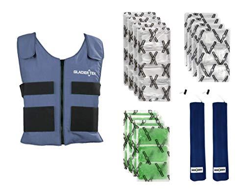 Glacier Tek Sports Cool Vest Bundle, with Biobased Cooling Packs Plus Booster Pack Set Blue