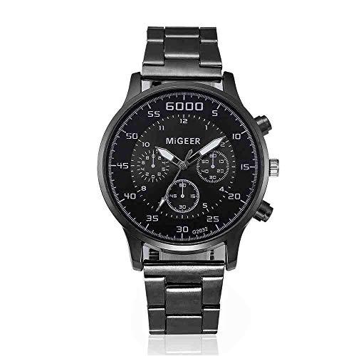 DECTN Reloj de Pulsera Mejor Venta Reloj HombreModa Hombre Cristal Acero Inoxidable Relojes de Pulsera de Cuarzo analógico Erkek KOL i Reloj, 1
