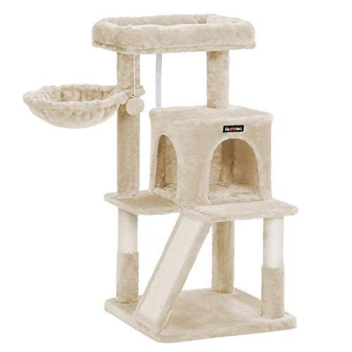 FEANDREA Cat Tree, Cat Tower with Large Perch, Basket, Cat Condo with Scratching Board, Beige UPCT051M01