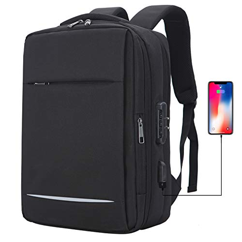 Business Laptop Backpack Anti-theft Bag Travel Laptop Backpack Water Resistant Backpack Shockproof with USB Charging Port College School Backpack Fits 14 15.6 Inches Notebook for Women/Men, Black