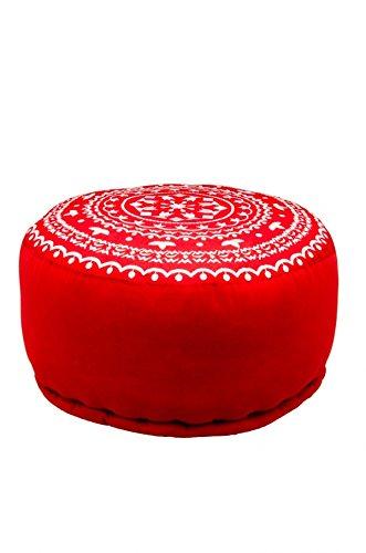 Orientalischer runder Pouf aus Baumwolle inklusive Füllung | Marokkanisches Sitzkissen Sitzpouf Kissen Jabran Rot ø 52cm Rund | Marokkanischer Hocker Sitzhocker Fusshocker Weiß Bestickt