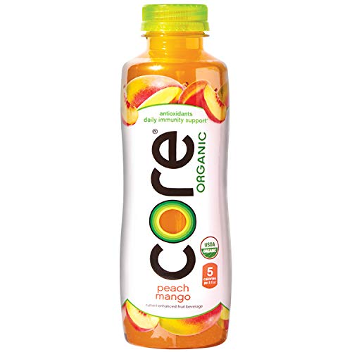 CORE Organic Peach Mango 18 Fl Oz Pack of 12 Fruit Infused Beverage Vegan/GlutenFree NonGMO Refreshing Flavored Water with Antioxidants Great For Immunity Support CLEAR