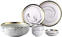 CHUNSHENN ボウル 食器 和食器 ボウルZengMCJディナーセット、セラミックセット、大理石のテクスチャ、スープ皿、コンビネーション料理、7Pieceを使用した2人 高級磁器 英国 引出物 御祝いの品 贈り物 和風