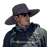 Cooltto Cappello da Pesca Antivento Cappelli alla Pescatora da Uomo Spazioso Traspirante e Impermeabile con Protezione UV UPF50+ per Ciclismo Arrampicata Canottaggio Giardinaggio-Grigio Scuro