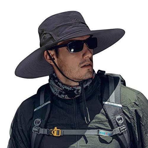 Cooltto Sombrero del Pescador,Gorro de Pesca,50+ UV protección Solar de Ancho Borde Sombrero-Rápido Seco Transpirable Plegable Impermeable Ajustable,para la Actividades al Aire Libre-Gris Oscuro