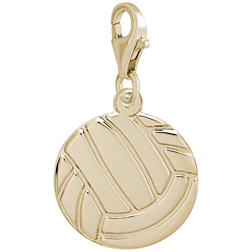 14K Yellow Gold Volleyball Charm With Lobster Claw Clasp, Charms for Bracelets and Necklaces