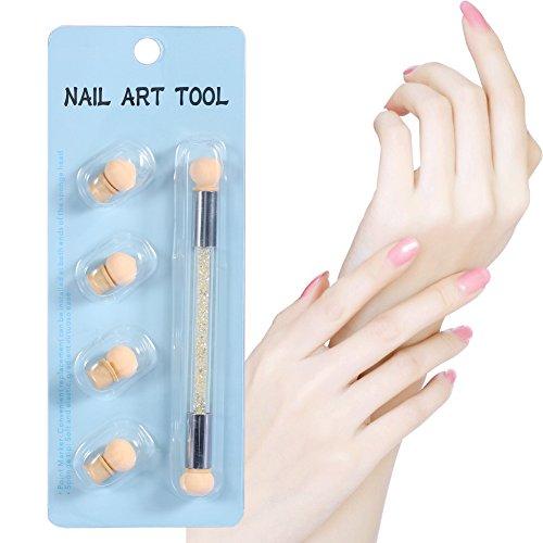 Double-fin Nail Art Peinture Dégradé Ombre Stylo Double Pointe Nail Art Éponge Brosse avec 4 Têtes D'Éponge Supplémentaires Manucure Maquillage Cosmétique Outil