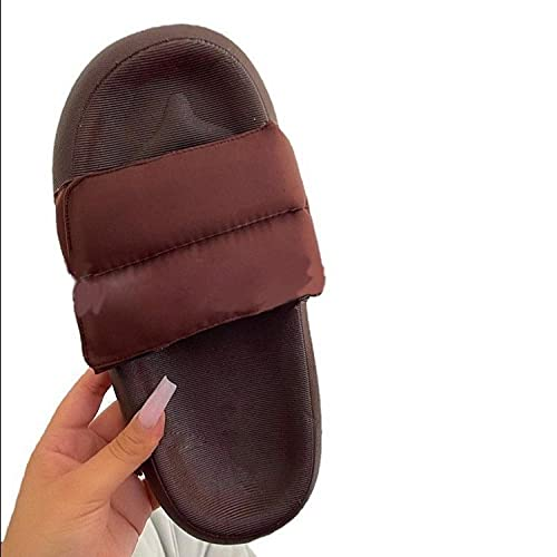 XUNHOU Sandalias Planas Retro clásicas,Zapatillas Planas Suaves de Gran tamaño,Zapatillas de una Palabra Transpirables y cómodas-Rojo Vino_39 EU,Chanclas de Moda clásica