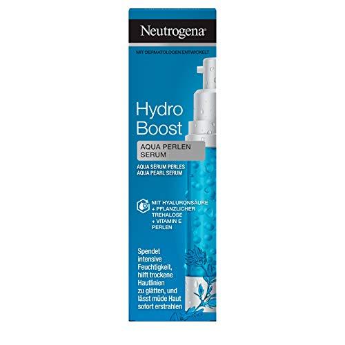 Neutrogena Hydro Boost Aqua Perlen Serum (30ml) - feuchtigkeitsspendendes Gesichtspflege Serum mit Hyaluron, pflanzlicher Trehalose und Vitamin E Perlen - für trockene Haut