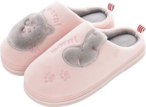 Pantofole Invernali Donna Pantofole da Casa Uomo Antiscivolo Scarpe Peluche Pantofole Caldo Ciabatte di Cotone Scarpe Indoor Outdoor- Rosa - 39/40 EU (Taglia Produttore 40-41)