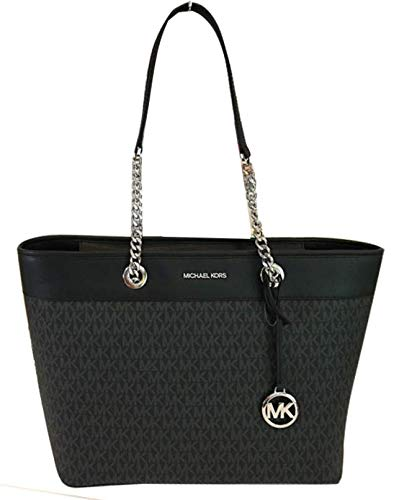 """Made of MK logo PVC and Saffiano leather Light weight and spacious Top zip closure Inside 1 zip pocket and 2 slip pockets 16""""L x 10.75""""H x 6""""D"""