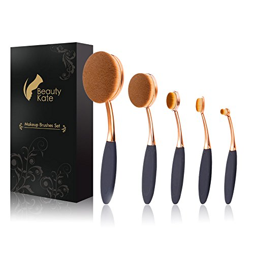 Beauty Kate Oval Makeup Brushes Set 5 Pcs Professional Oval Toothbrush...