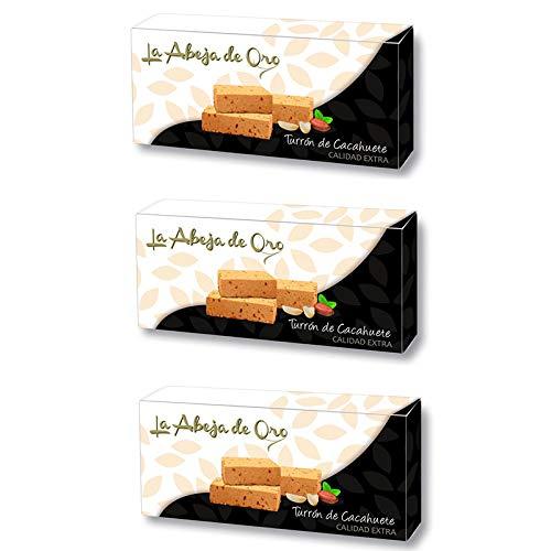 Turrón Blando de Cacahuete - La Abeja de Oro Pack incluye 3 barras de 200gr