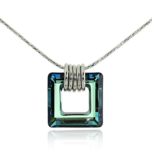 Stera Jewelry 925 Sterling Silver Necklace Made with Bermuda Blue Swarovski Crystal Square Pendant