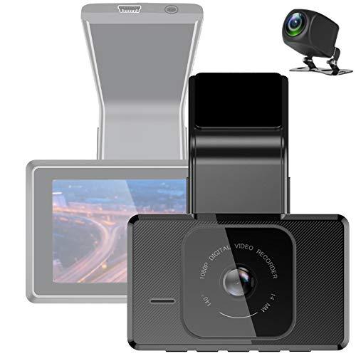 LPWCAWL Cámara De Coche HD 1080P, Dual Lens Dash CAM con Pantalla IPS De 3', Gran Angular De 140°, Visión Nocturna, Rastreador GPS, Sensor-G, Grabación En Bucle, Monitoreo De Estacionamiento