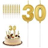 QUACOWW Velas de 30 cumpleaños con números de torta para decoración de cumpleaños, bodas, aniversarios, celebraciones, con 10 velas para tartas (doradas)