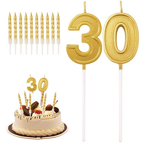QUACOWW 30th Birthday Candles Cake Numeral Candles Happy Birthday Cake Topper Decoration for Birthday Wedding Anniversary Celebration Supplies with 10 Cake Candles Toppers (Gold)