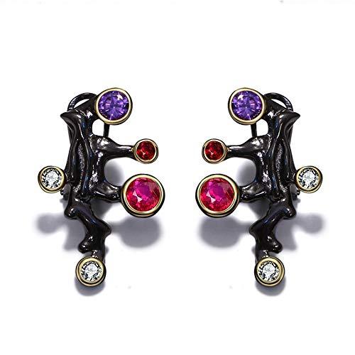 N/N Aretes Mujer Aretes Largos Mujer Púrpura Rojo Piedra Vintage Negro Color Mujeres Pendientes