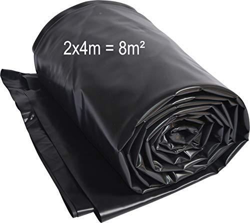 TEICHWERKplan Teichfolie PVC 2 x 4 m schwarz 0,5mm Teich Folie 8 m² Gartenteichfolie Gartenteich Koiteich Bachlauf Plane Pond
