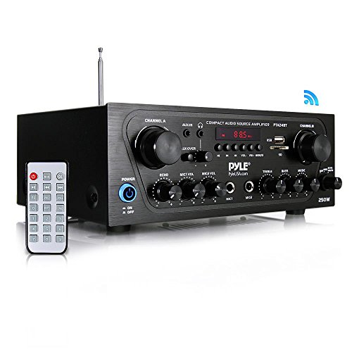 Pyle Amplificador de sonido de karaoke con canal Bluetooth para el hogar con entrada AUX, USB, 2 entradas…