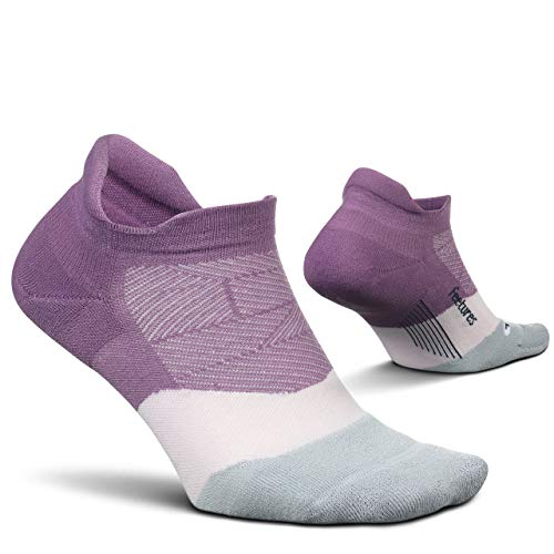 Feetures Elite Ultra Light No Show Tab Sock Wave (Large, Purple Nitro)