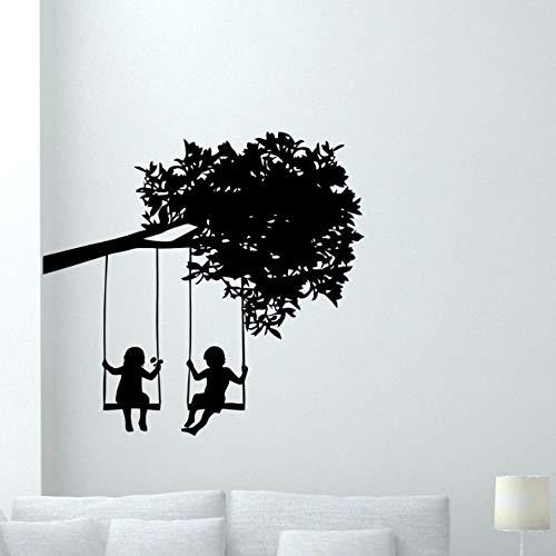 Kinderen boom muursticker verwijderbare jongen meisje spelen vinyl muur stickers kinderkamer kunst poster baby kamer decoratie vinyl behang 60x57cm