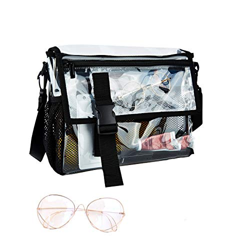 Clear Purse Shoulder Messenger bag-Heavy Duty Crossbody Concert College Stadium Approved for Work Business Travel for Men and Women