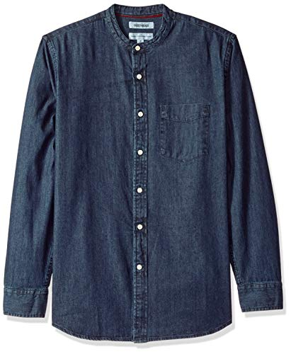 Amazon Brand - Goodthreads Men's Standard-Fit Long-Sleeve Band-Collar Denim Shirt, -dark blue, XX-Large