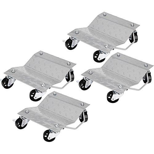 4Pcs Carrito para Desplazar Coche Carro para Mover el Neumático de Coche Tractores Motos de Nieve Vehículos hasta 1500 LBs  680KG, 2 de 4 Ruedas con Freno, Plataforma para Reparación de Automóviles
