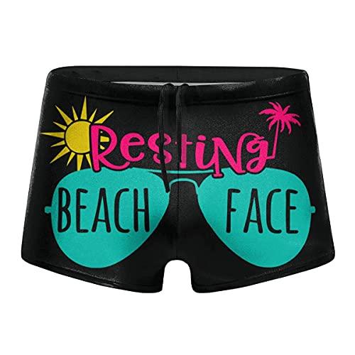 XCNGG Descansando Beach Face Calzoncillos Tipo bóxer de Secado rápido para Hombres Traje de baño Shorts Trunks Traje de baño XXL