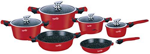 HaussmannHéritage® - 10 pièces batterie de Cuisine (Rouge ) avec poignée amovible- Revêtement anti-adhésif - Tous feux dont Induction - HM1049R