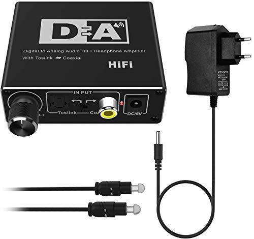 Rybozen 192kHz DAC Wandler, Digital Analog Wandler mit Lautstärkeregler Optischer Koaxial Toslink zu Analogem Stereo Cinch 3,5mm Audio Adapter für Xbox HD DVD Blu-ray PS3 PS4 TV Verstärker