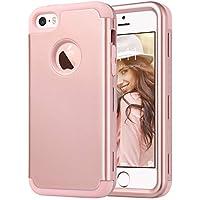 ULAK Funda iPhone SE 2016, iPhone 5/5S Capa 3 en 1 híbrido Case a Prueba Golpes Dura Cubierta Trasera Shock Absorbente TPU Parachoques Caso para Apple iPhone 5/5S/SE - Oro Rosa