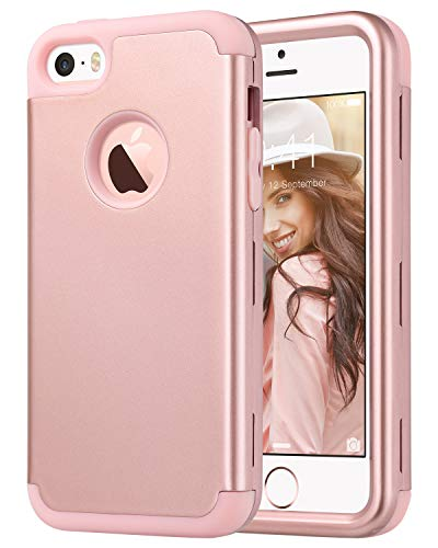 ULAK Cover iPhone 5S, iPhone SE Custodia Ibrida a Protezione Integrale con Parte Esterna in 3 Strati di Morbido Silicone e Interno Rigido Cover per iPhone SE, iPhone 5/5S/5C (Oro Rosa)