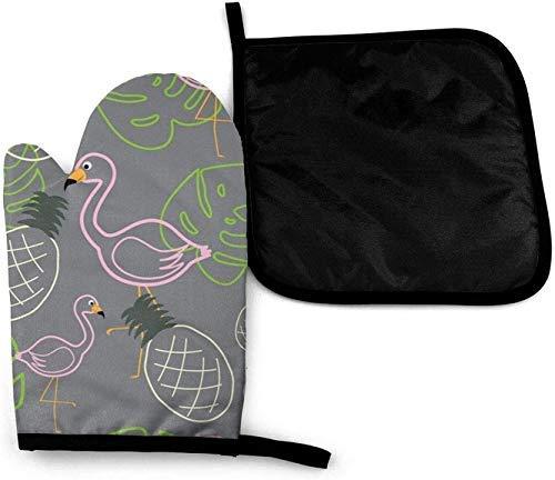 XIUZHEN Christmas Mouse Zodiac Rat Art Guantes para Horno microondas y Porta ollas Juego de Fundas Aislamiento térmico Manta Alfombrilla Manoplas Guantes Antideslizantes para Barbacoa
