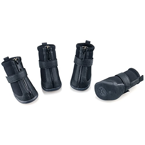 URBEST Dog Winter Shoes, Dog Boots Sports Non-Slip Pet Dog PU Leather Reflective and Rugged Anti-Slip Sole Water Resistant Puppy Boots Rain Shoes, 2 Pairs(XS: 1.41' x 1.77', Black)