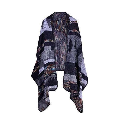 HUAHUA bufandas Caliente del otoño y del invierno bufandas, Pañuelo-mantón de la bufanda del babero del mantón Capa Springutumn y Winter Variedad de cachemira color raya de la moda del mantón Cloakria