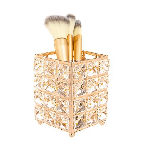 Feyarl Porte-pinceaux de maquillage en cristal doré doré