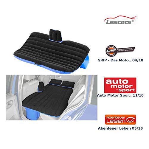 Lescars Autobett: Aufblasbares Bett für den Auto-Rücksitz mit 12-Volt-Luftpumpe (Autoluftbett)
