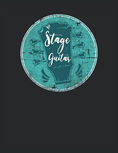 Stage Guitar - Guitarra de escenario Roady Roadies Equipo de escenario: Cuaderno de notas | Rayas, Carta (21,59 x 27,94 cm), 120 páginas, papel crema, cubierta mate