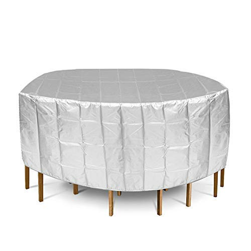 188x84cm de Plata Muebles Cubierta Impermeable Redonda de Jardín de la Mesa de la Silla para al aire libre a prueba de polvo Cubierta Cap